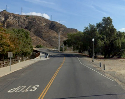 View toward Piru Creek Bridge, Center Street