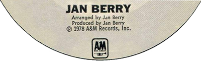 Jan Berry, A&M Records, 1978